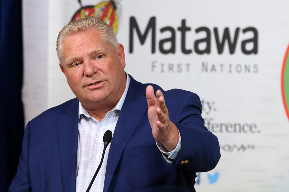 Ontario Premier Doug Ford speaks in Thunder Bay at the Matawa Education Centre on Friday, Oct. 18, 2019. (Leith Dunick, tbnewswatch.com)