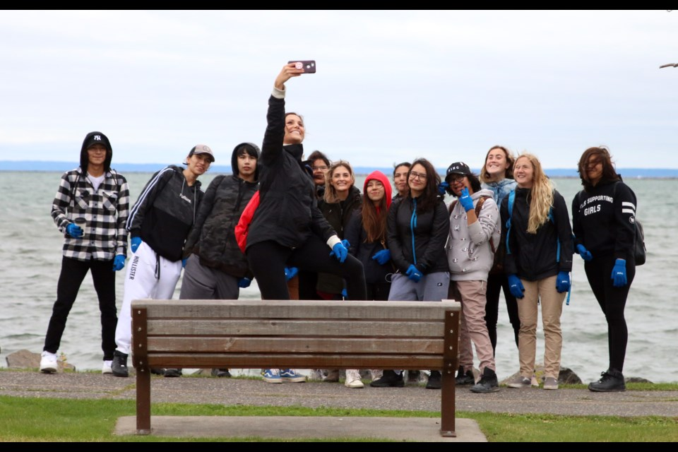 Teams of students from DFC took selfies in front of Lake Superior during the Wake the Giant Amazing Race orientation. (Photos by Doug Diaczuk - Tbnewswatch.com).