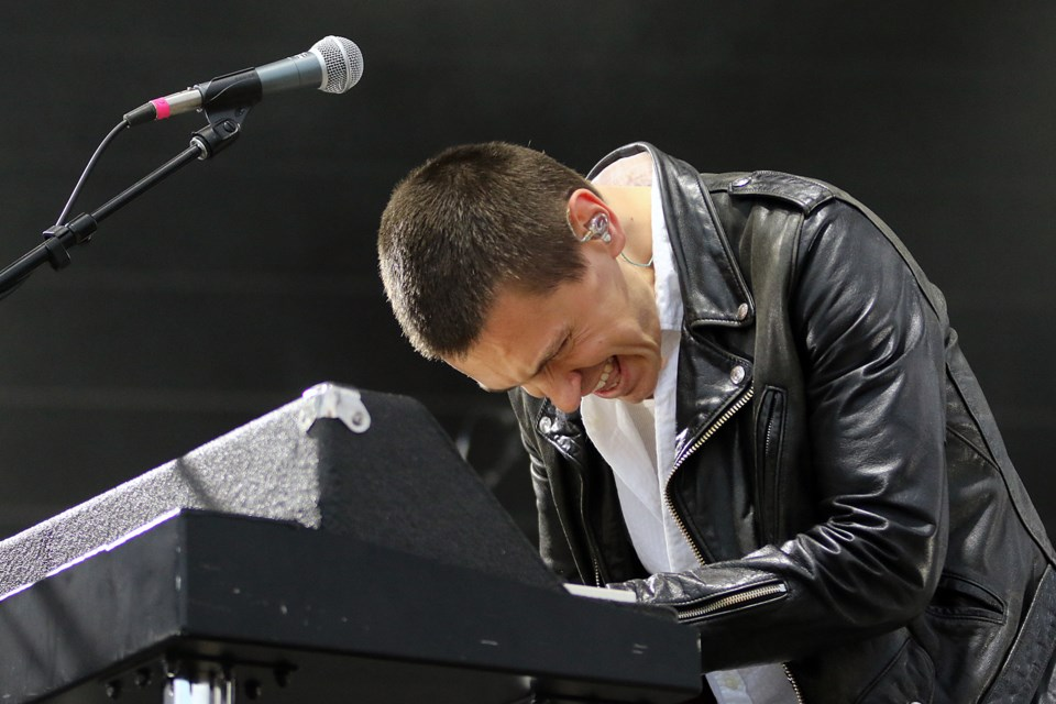 July Talk singer Peter Dreimanis plays the keyboards on Saturday, Sept. 14, 2019 at the Wake the Giant Music Festival in Thunder Bay. (Leith Dunick, tbnewswatch.com)