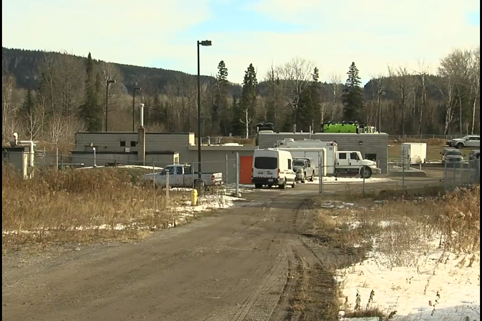 Several OPP specialized teams are involved in a search at Nipigon's sewage plant (Adam Riley/TBTV photo)