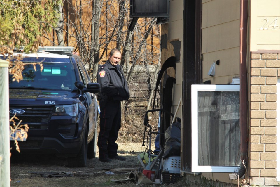Thunder Bay police were on the scene of a structural fire on Carl Avenue Tuesday morning. (Photos by Ian Kaufman, tbnewswatch.com)