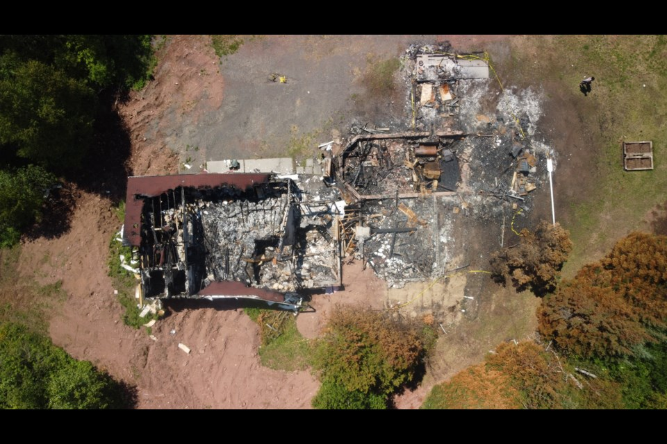 An aerial image shows the remains of Salem Lutheran Church at Pass Lake after a fire on June 9, 2020 (courtesy Jim Jensen)