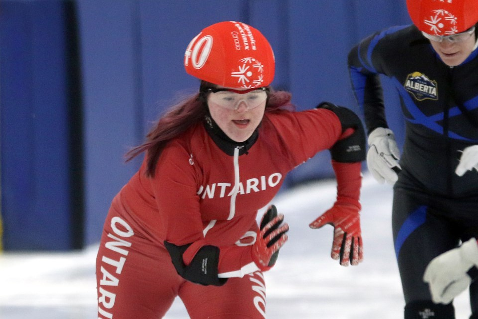 Claire Kachur of Thunder Bay competes on Thursday, Feb. 27, 2020 at the 2020 Special Olympics Canada Winter Games at Delaney Arena. (Leith Dunick, tbnewswatch.com)
