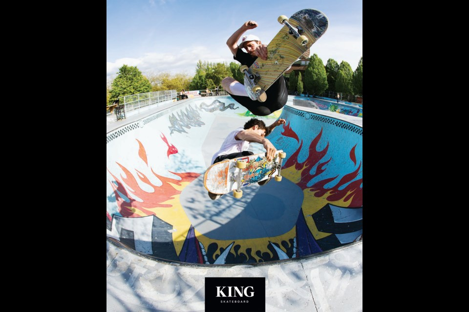 Adam Hopkins  (top) and Adam Gee were featured on the cover of King Skateboard magazine (courtesy Jeff Thorburn and King Skate)