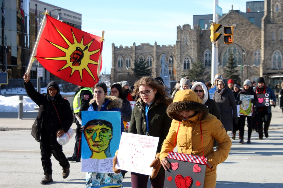 Dozens of people braved cold temperatures for a walk to honour the memory of Missing and Murdered Indigenous Women and Girls. (Photos by Doug Diaczuk - Tbnewswatch.com).