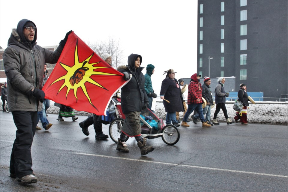 Marchers shut down large portions of the north core downtown Tuesday evening in solidarity with Wet'suwet'en hereditary chiefs. (Photos by Ian Kaufman, tbnewswatch.com)
