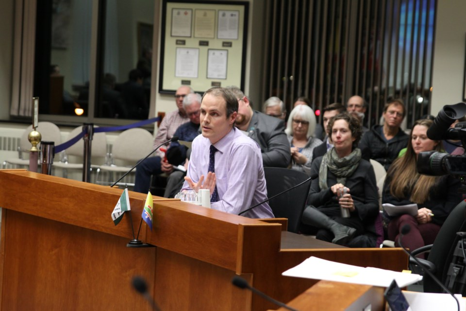 Local science teacher Matt Roy urged city council to declare a climate emergency. (Photos by Ian Kaufman, Tbnewswatch)