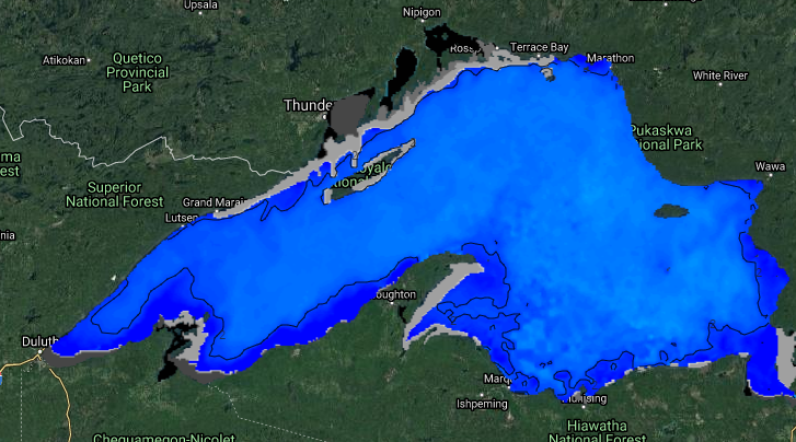 The light and dark grey-coloured areas show where ice formed on Lake Superior by Jan. 21, 2020 (Google Maps/NOAA/G.Lakes Env. Research Lab)