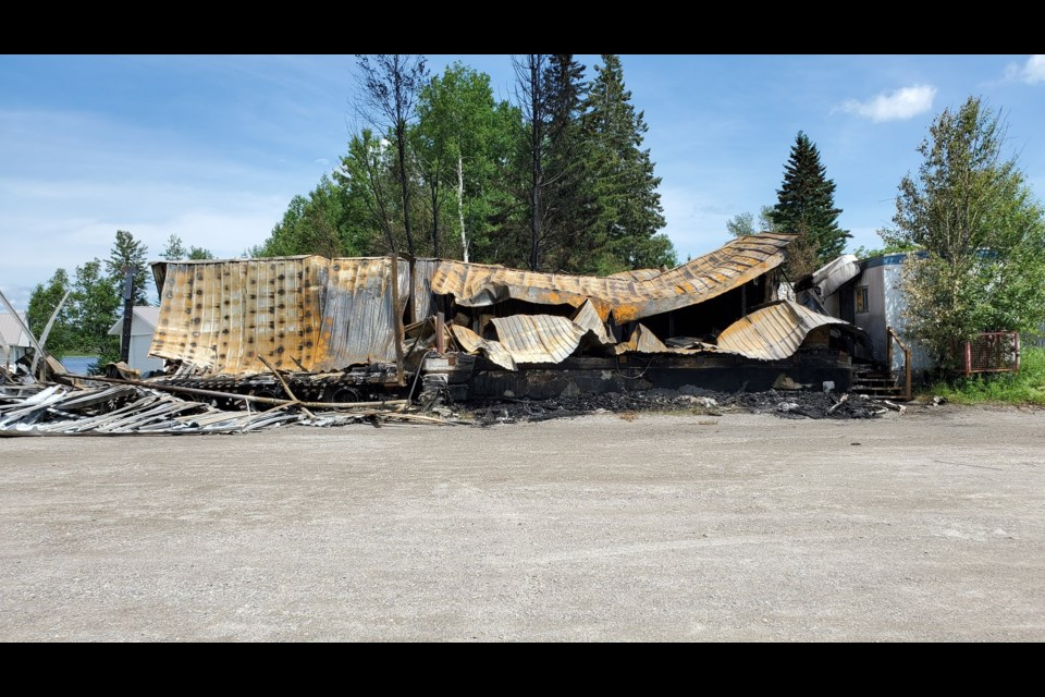 A fire destroyed the Courtesy Freight Systems transfer station in Geraldton, Ont. on July 6, 2020 (Adam Riley, TBTV)