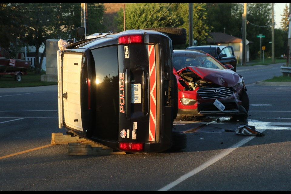 A Thunder Bay Police service cruise was involved in a collision on Friday, July 31, 2020 at the intersection of Walsh and Edward streets. (Leith Dunick, tbnewswatch.com)