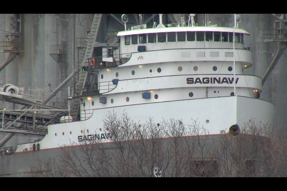 The MV Saginaw arrived at the Richardson Terminal in Thunder Bay on January 12, 2021 (Troy Charles/TBTV photo)