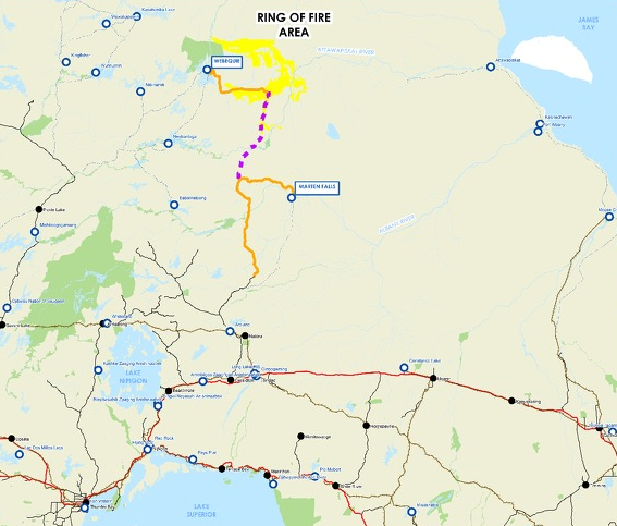 The dotted line on this map shows a proposed link between two future roads, from Webequie in the north and Marten Falls in the south, to the Ring of Fire (Gov't of Ontario)