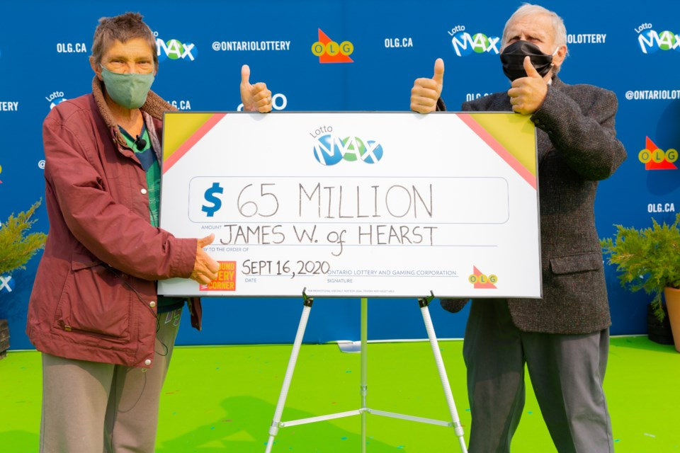 Hearst man claims $65-million Lotto Max jackpot