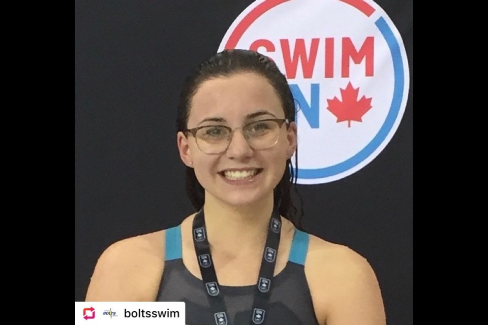 Grade 11 student Isabel Harri from the ThunderBolts Swim Club is one of the recipients of this year's Swim-Ontario-Dan Taylor Student Athlete Scholarship.