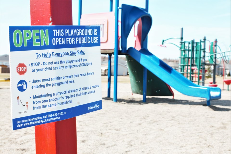 Playgrounds COVID restrictions sign City of Thunder Bay