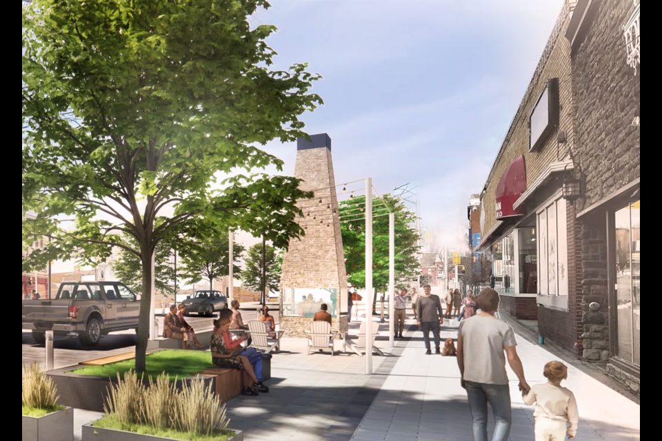 A rendering envisions potential changes to downtown sections of Red River Road, expanding a pedestrian boulevard and trimming the street to two lanes. (Brook McIlroy image)