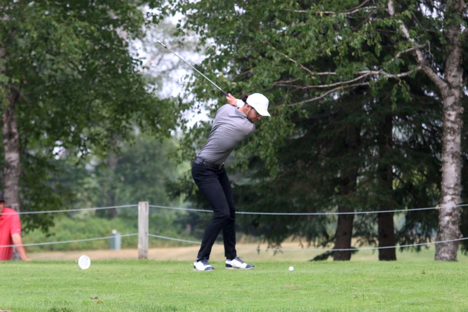Conor Carr tees off during the  Strathcona Invitational final on Monday. (Photos by Doug Diaczuk - Tbnewswatch.com).