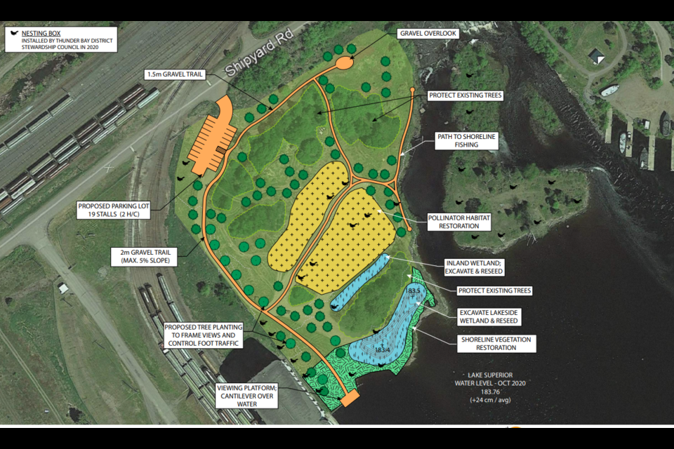 This sketch shows plans for the west side of Fisherman's Park including new vegetation, walking trails and a viewing platform (City of Thunder Bay)