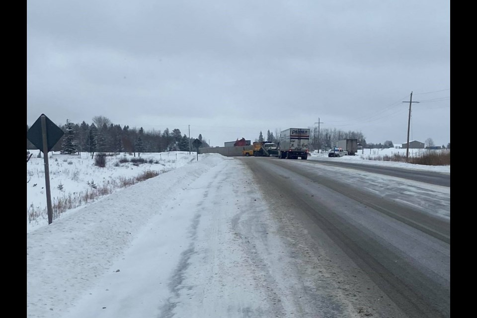 A collision about 20 kilometres west of Dryden closed a stretch of Highway 17 Sunday. (Photo courtesy of Kate Pollard)