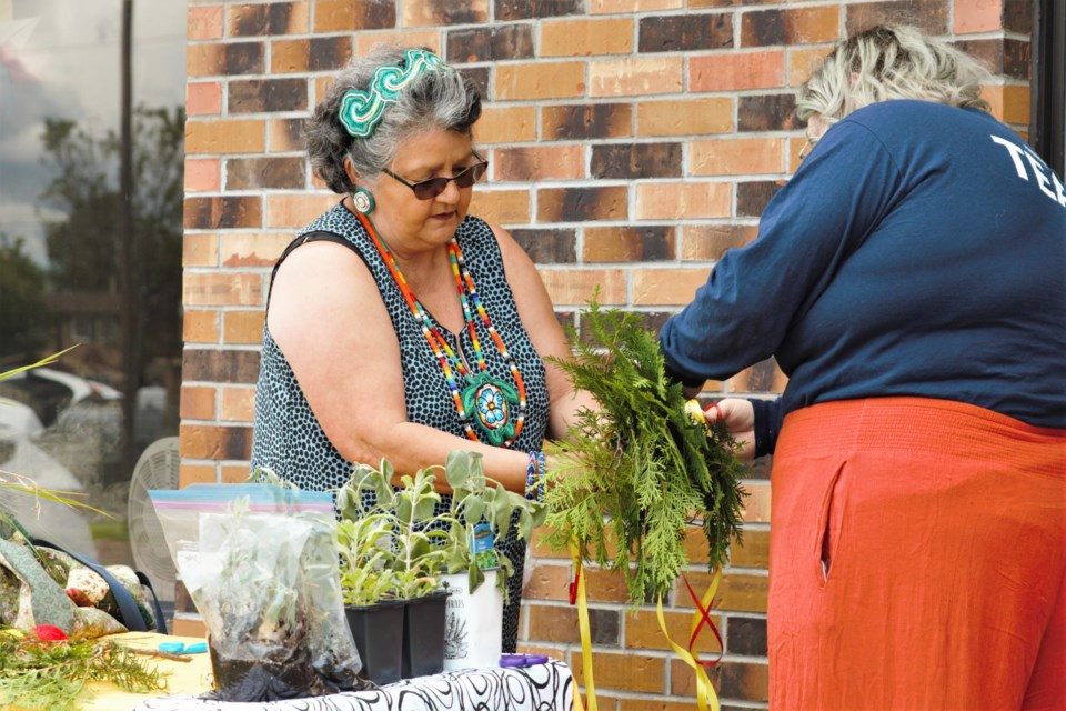 Elder Lorna Turner shared teachings on medicinal plants as part of youth programming for Indigenous Peoples Day in 2021. (Photos by Ian Kaufman, TBNewswatch)