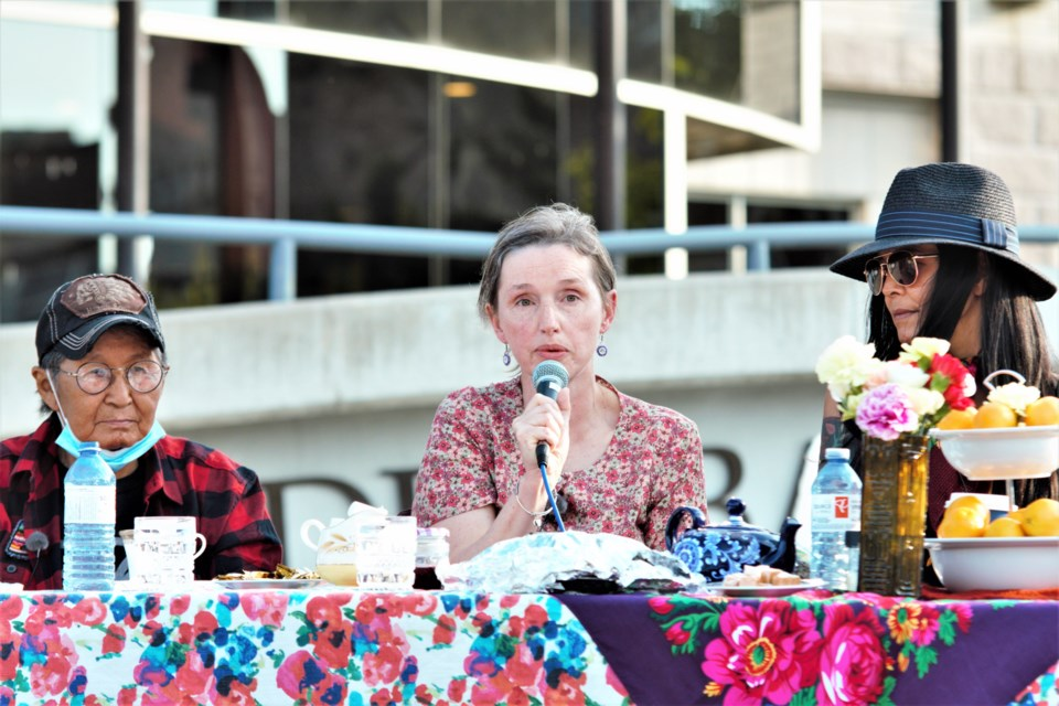 Jody Porter speaks at the Tea with Kokum event at city hall on Wednesday. (Photos by Ian Kaufman, TBNewswatch)