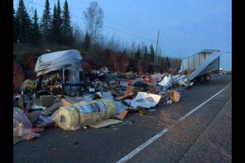A transport crashed on Highway 17 east of Nipigon on Saturday. (Photo courtesy Skilled Truckers Canada)