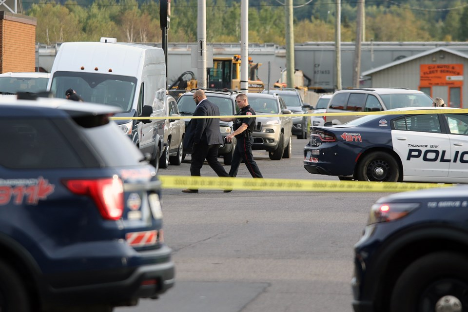 Thunder Bay Police investigate a possible shooting near the intersection of Edward and Amelia streets on Monday, Sept. 13, 2021. (Leith Dunick, tbnewswatch.com)