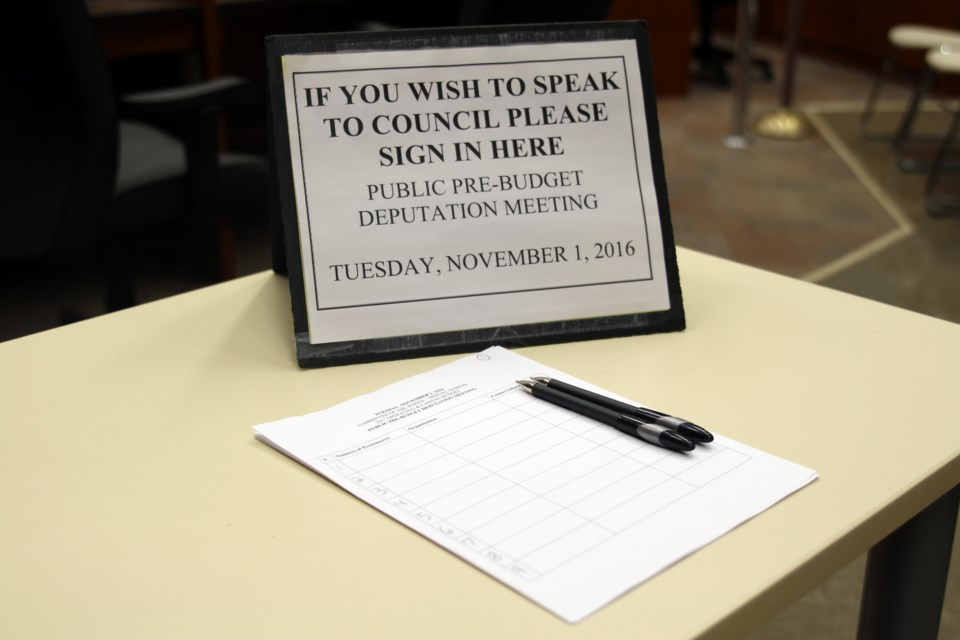 Only one organization presented a pre-budget deputation to city council on Tuesday.