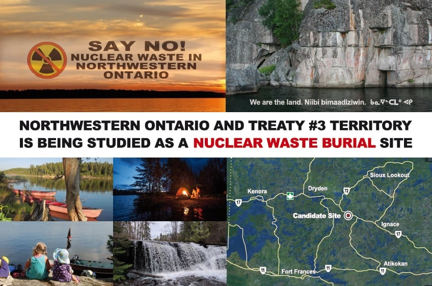 Groups opposed to nuclear waste disposal in Northwestern Ontario delivered 30,000 of these postcards to residents between Upsala and the Manitoba border (Facebook/Nuclear Free North)