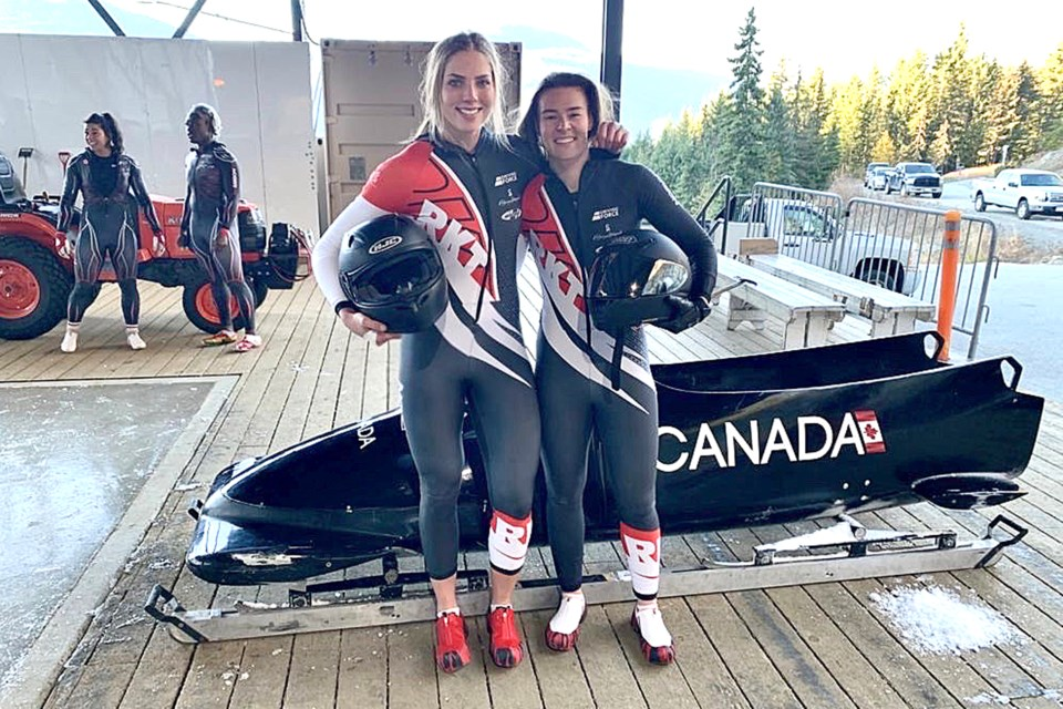 Thunder Bay's Stephanie Drost (left) is attemptiing to earn a spot on Canada's national women's bobsled team ahead of the 2022 Beijing Olympics. (submitted photo)