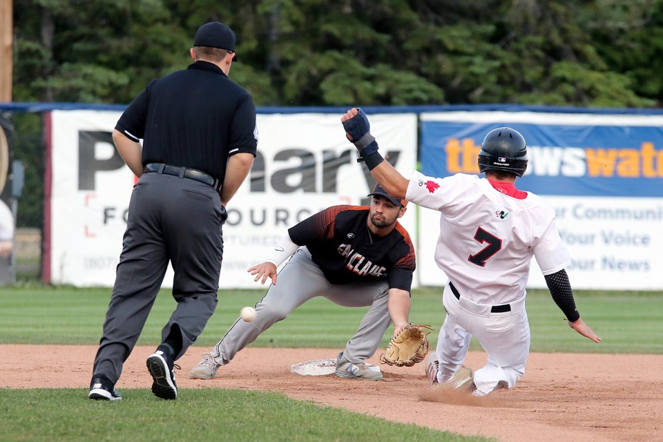 Eau Claire's Nick Mannconz awaits the throw with Thunder Bay's Jakob Neston barrels down on him trying to steal second on Monday. July 22, 2019 at Port Arthur Stadium. (Leith Dunick, tbnewswatch.com)