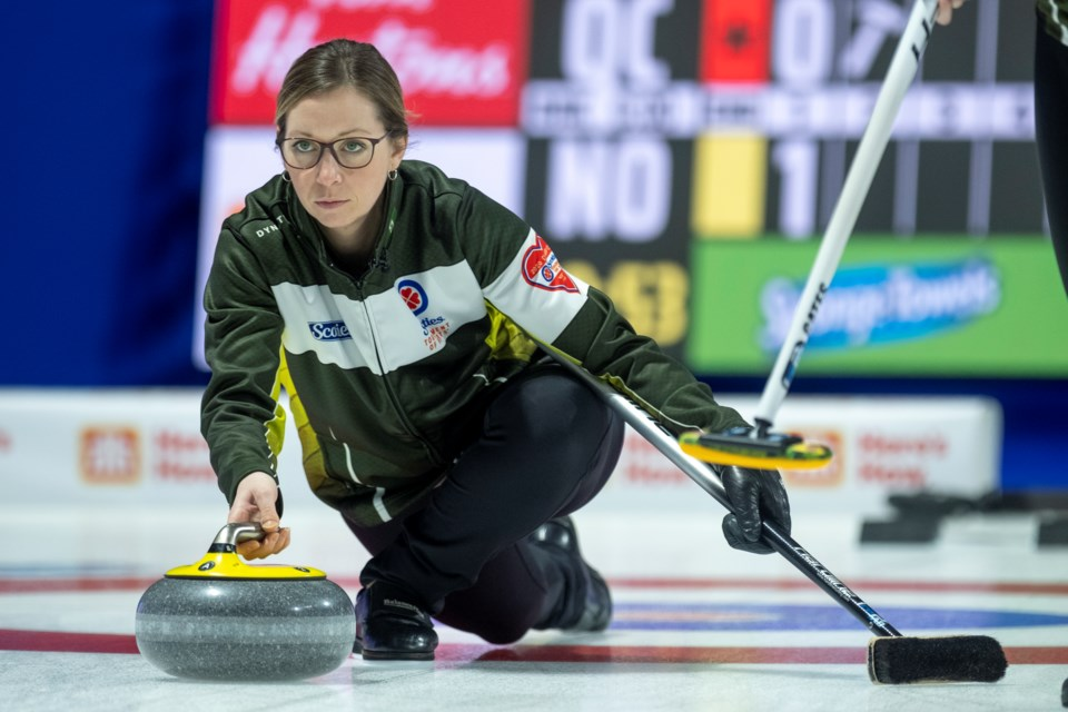 Team Northern Ontario. From the Fort William Curling Club, in Thunder Bay, skip Krista McCarville throw her rock in draw seven play at the 2020 Scotties Tournament of Hearts, The Canadian Women's Curling Championship. (Curling Canada/Andrew Klaver)