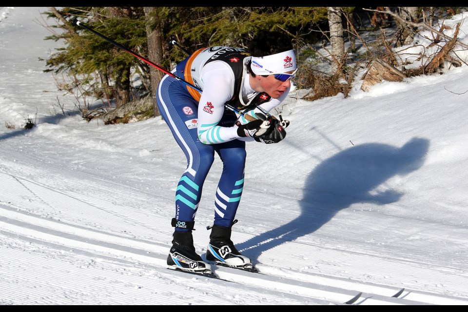 NTDC-Thunder Bay's Pierre Grall-Johnson competes during the junior men's 30-kilometre classic race on Day 8 at the 2018 Ski Nationals on Saturday, March 17, 2018 at Lappe Nordic Ski Centre.