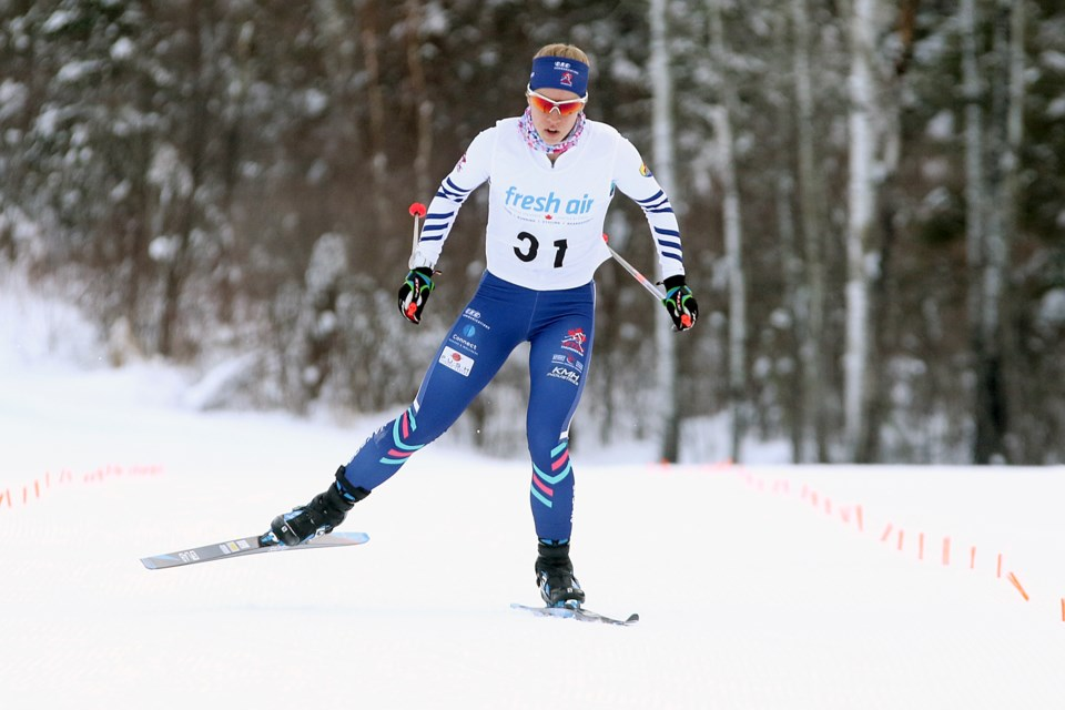 Thunder Bay's Sadie White will represent Canada at the Under 23 Nordic World Championships later this month. She took second in the senior and junior women's sprint race on Friday, Jan. 4, 2019 at Lappe Nordic Ski Centre. (Leith Dunick, tbnewswatch.com).