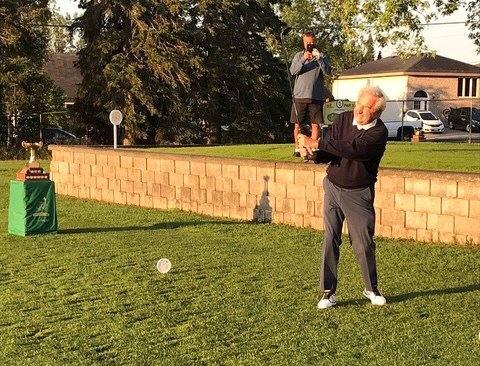 John Valley hits a ceremonial opening shot on Friday, July 30, 2021 at the Strathcona Invitational. (submitted photo)