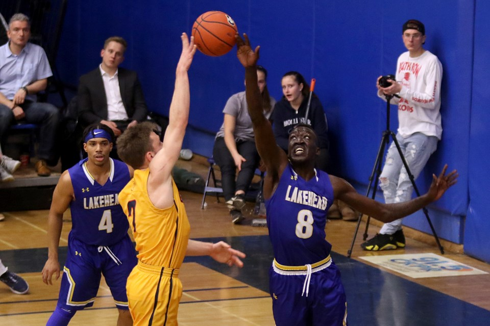 Lakehead's Lock Lam on Saturday, Feb. 15, 2020 blocks his 122nd shot in a Lakehead uniform, tying Yoosrie Sahlia's all-time school record. Lam would block eight more in the game and stands alone in the LU record books.