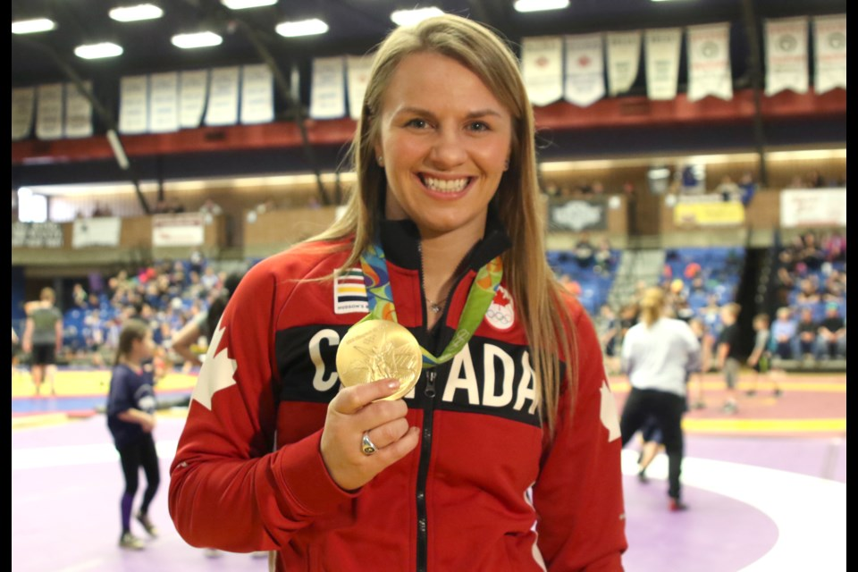 Olympic wrestling gold medalist Erica Wiebe was in Thunder Bay on Thursday, March 30, 2017 to speak to students about her story (Leith Dunick, tbnewswatch.com).