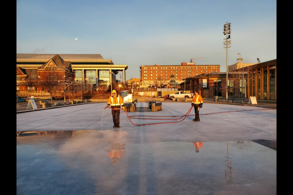 A City of Thunder Bay crew was flooding the rink at Prince Arthur's Landing on Wednesday, December 2, 2020 (TBNewswatch)