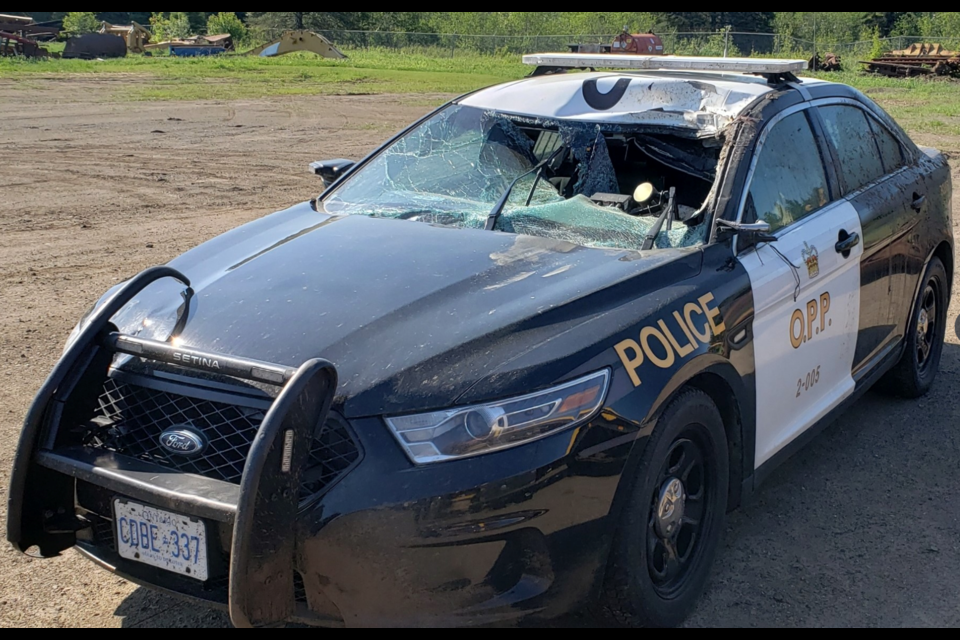 A Thunder Bay OPP officer travelling on Highway 17 in the Shabaqua collided with a moose.
