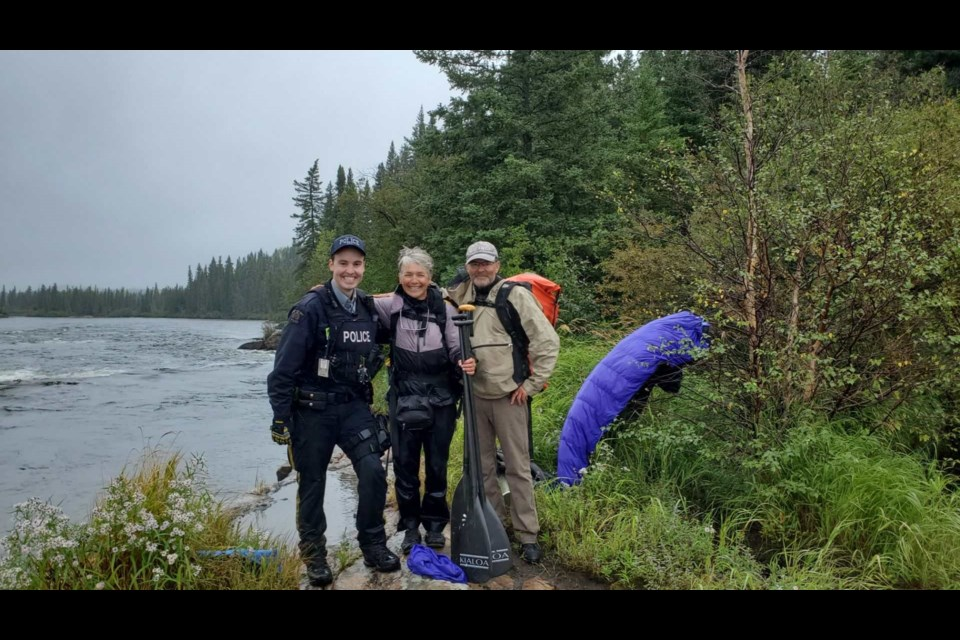 Canoeists Julie deMoissac and Bill Rees say Thompson RCMP officers went to great lengths to rescue them in August after they lost their canoe in rapids and got stranded on the banks of the Hayes River near Oxford House.