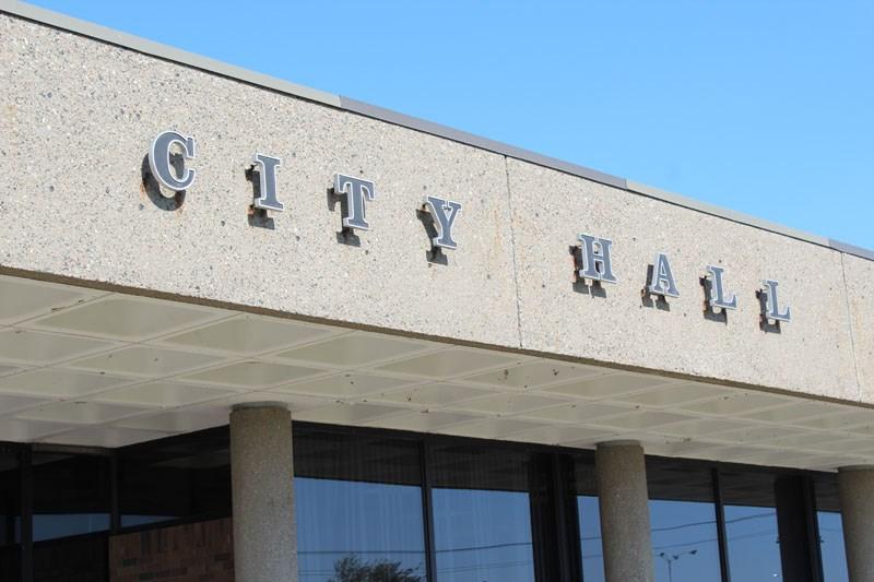city hall close up stock shot