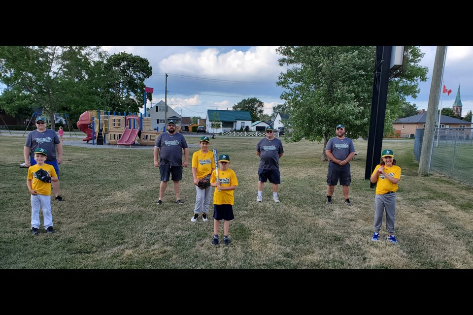 Keeping baseball alive in Thorold: (Pictured, back l-r): Robb Norris, Chris Green, Tim O'Brien, Adam Semenuk, (front l-r): Max Cook, Ridley Paone, Mason Green and Grady Semenuk. Submitted Photo