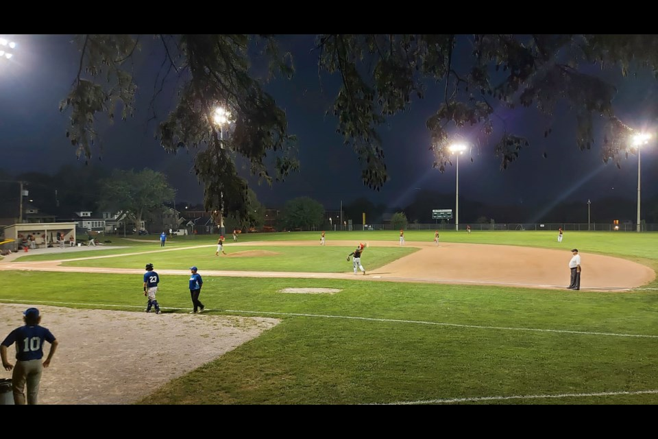 Thorold Anchors hit the field on Tuesday night and faced off against St Catharines 22U Cobras. Photo: Bernard Lansbergen
