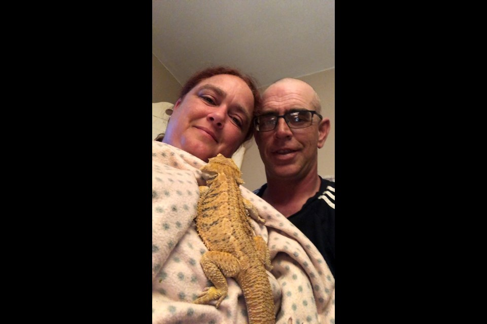 Laura and Jeff Legros with their new friend, Cheeto. Photo: Supplied