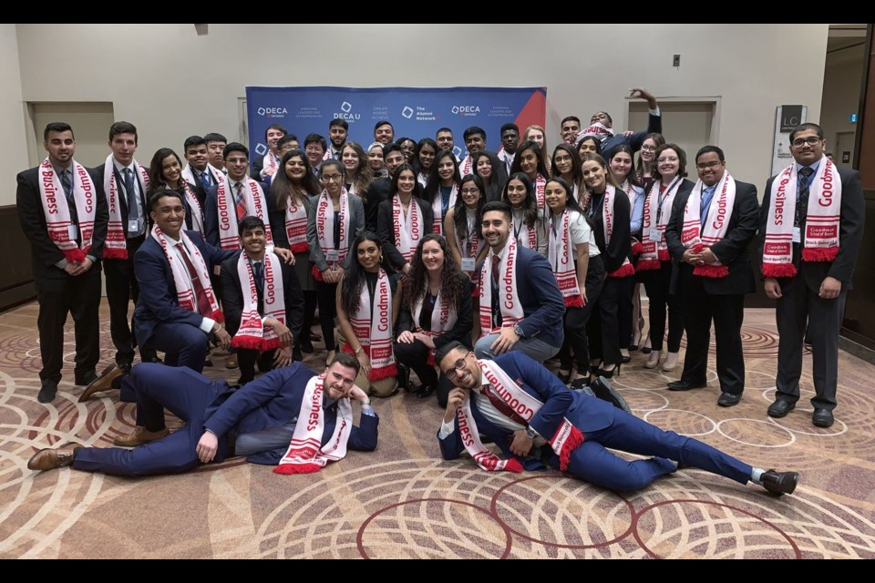 Goodman School of Business students earned a School record of 21 medals at the DECA U Provincials competition, held Jan. 18 to 20 in Toronto. Photo supplied by The Brock News.