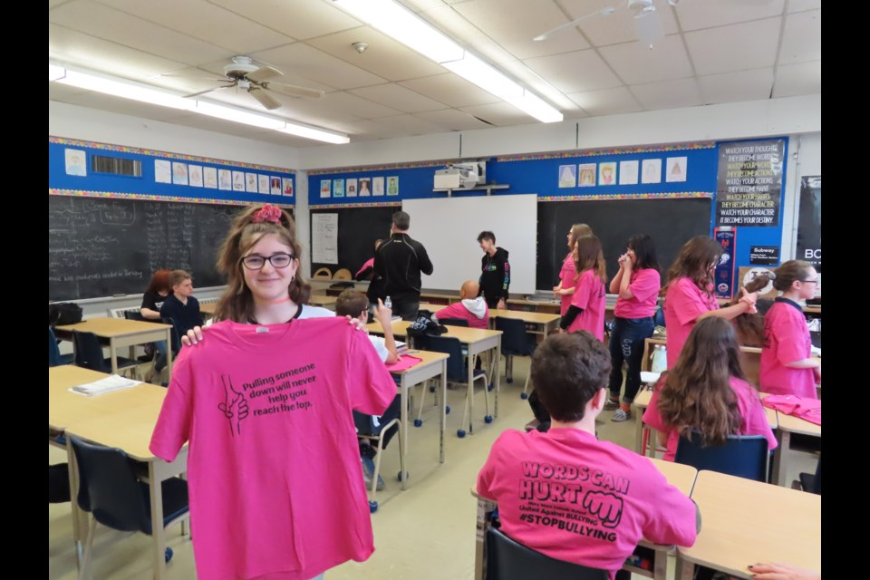 Alessia Rocca, 13, said she felt proud to see her slogan and design printed on over 500 shirts. (Photo: Ludvig Drevfjall/Thorold News)
