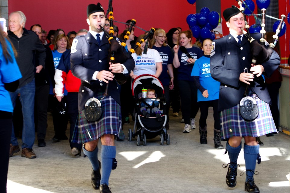 The walkers were led by pipers on the route inside Brock University campus. Bob Liddycoat / Thorold News
