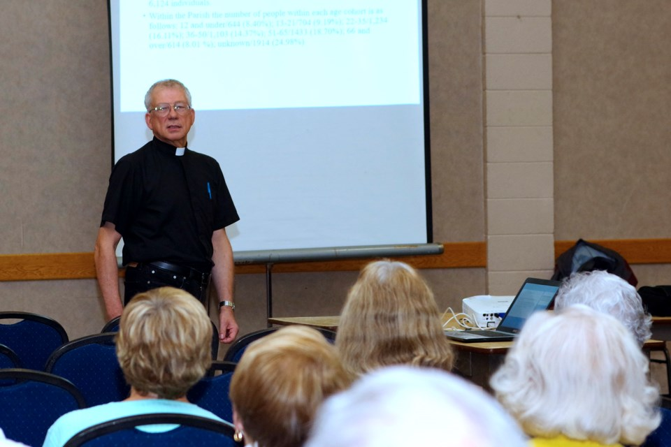 Father Michael Basque updated the gathering on the current state of finances in the church and church hall and outlined options being considered. Bob Liddycoat / Thorold news