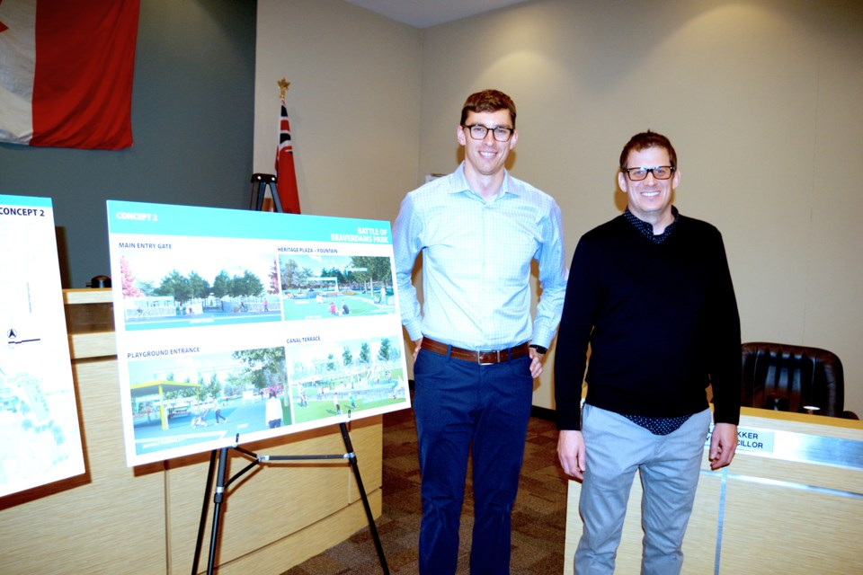 Mike Barker (r) and David Duhan of Shift Landscape Architecture presented three concept ideas for reconfiguration of the Battle of Beaverdams Park. Bob Liddycoat / Thorold News