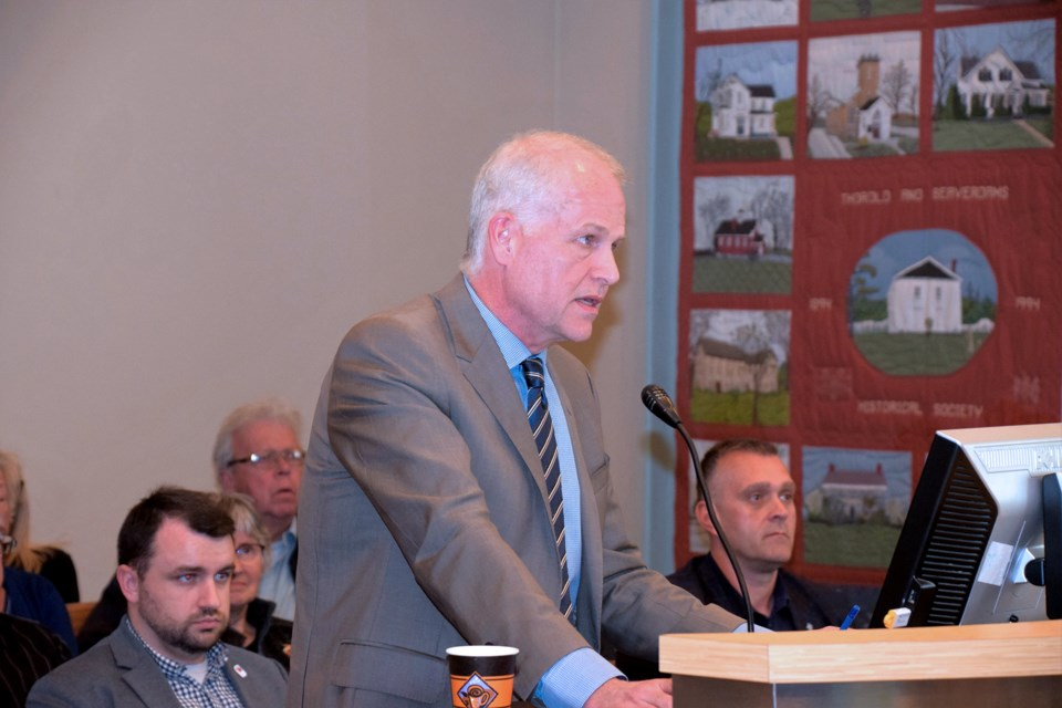 Doug Hamilton, chair of the 2021 Canada Summer Games Host Society appeared at Thorold council last night to ask for financial support. Photo Vandermaas